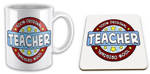 100% Original Teacher Novelty Mug with Coaster Gift Set - Blue